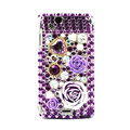 Flower 3D bling crystals cases covers for Sony Ericsson Xperia Arc LT15I X12 LT18i - Purple
