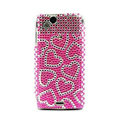 Heart bling crystals cases covers for Sony Ericsson Xperia Arc LT15I X12 LT18i - Pink