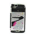 High-heeled shoes bling crystals cases covers for Sony Ericsson Xperia Arc LT15I X12 LT18i - Black