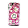 Rounds bling crystals cases covers for Sony Ericsson Xperia Arc LT15I X12 LT18i - Pink