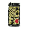 Smiley bling crystals cases covers for Sony Ericsson Xperia Arc LT15I X12 LT18i - Yellow