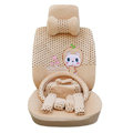 OULILAI Apple cat Car Front Rear Seat Covers Cartoon Plush Universal 19pcs - Beige
