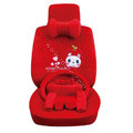 OULILAI Apple cat Car Front Rear Seat Covers Cartoon Plush Universal 19pcs - Red
