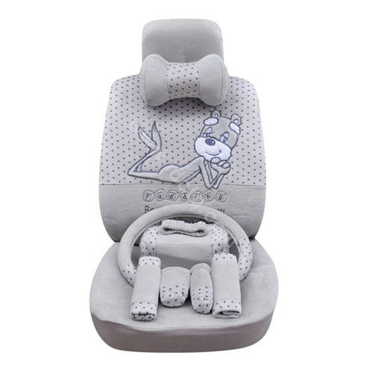 buy wholesale oulilai pudding dog auto car front rear seat covers plush universal 19pcs gray. Black Bedroom Furniture Sets. Home Design Ideas
