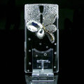 Butterfly bling crystals cases skin covers for Sony Ericsson LT26i Xperia S - White