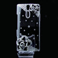 Camellia flower bling crystals cases covers for Sony Ericsson LT26i Xperia S - Black