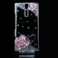 Camellia flower bling crystals cases covers for Sony Ericsson LT26i Xperia S - Pink