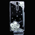 Camellia flower bling crystals cases covers for Sony Ericsson LT26i Xperia S - White