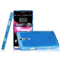 IMAK Ultrathin Scrub Skin Cases Covers for Sony Ericsson LT26i Xperia S - Transparent Blue
