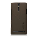 Nillkin scrub hard skin cases covers for Sony Ericsson LT26i Xperia S - Brown
