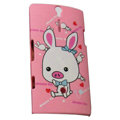 Cartoon Pig scrub cases skin covers for Sony Ericsson LT26i Xperia S - Pink