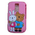 Cartoon Metoo Scrub Hard Skin Cases Covers for Blackberry 9000 - Pink