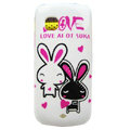 Cartoon Double Rabbit Hard Cases Skin Covers for Nokia C5-03 - White