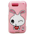 Cartoon Lover Rabbit Hard Cases Covers for Motorola Defy ME525 MB525 - Pink