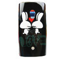 Cartoon Lovers Rabbit Hard Cases Skin Covers for Sony Ericsson X10i X10 - Black
