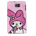 Bling Cute gril  S-warovski Crystals Cases Covers For Samsung Galaxy Note i9220 N7000 - Pink