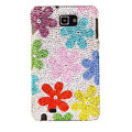 Bling Flowers S-warovski Crystals Cases Covers For Samsung Galaxy Note i9220 N7000 - Red