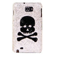 Bling Skull S-warovski Crystals Cases Covers For Samsung Galaxy Note i9220 N7000 - White