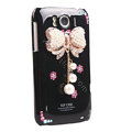 Bling Bowknot Crystals Cases Covers for HTC Sensation XL Runnymede X315e G21 - Black