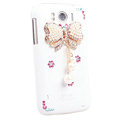 Bling Bowknot Crystals Cases Covers for HTC Sensation XL Runnymede X315e G21 - White