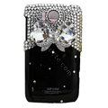 Bling Bowknot Crystals Cases Diamond Covers for HTC Sensation XL Runnymede X315e G21 - Black