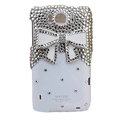 Bling Bowknot Crystals Cases Diamond Covers for HTC Sensation XL Runnymede X315e G21 - White