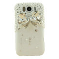 Bling Bowknot Crystals Cases Pearl Covers for HTC Sensation XL Runnymede X315e G21 - White