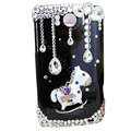 Bling Carousel Crystals Cases Covers for HTC Sensation XL Runnymede X315e G21 - Black