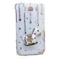 Bling Carousel Crystals Cases Covers for HTC Sensation XL Runnymede X315e G21 - White