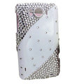 Bling Crystals Cases Covers for HTC Sensation XL Runnymede X315e G21 - White