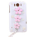 Bling Flower Crystals Cases Covers for HTC Sensation XL Runnymede X315e G21 - Pink