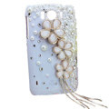 Bling Flower Crystals Cases Covers for HTC Sensation XL Runnymede X315e G21 - White