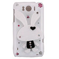 Bling Rabbit Crystals Cases Covers for HTC Sensation XL Runnymede X315e G21 - White