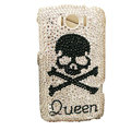 Bling Skull Crystals Cases Covers for HTC Sensation XL Runnymede X315e G21 - White
