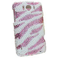 Bling Zebra Crystals Cases Pearls Covers for HTC Sensation XL Runnymede X315e G21 - Pink