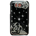Flowers Bling Crystals Cases Covers for HTC Sensation XL Runnymede X315e G21 - Black