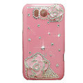 Flowers Bling Crystals Cases Covers for HTC Sensation XL Runnymede X315e G21 - Pink