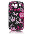 Painting Butterfly TPU Soft Cases Covers for Samsung I9300 Galaxy SIII S3 - Black