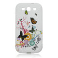 Painting Butterfly TPU Soft Cases Covers for Samsung I9300 Galaxy SIII S3 - White