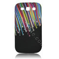 Painting Color bar TPU Soft Cases Covers for Samsung I9300 Galaxy SIII S3 - Black