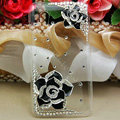 Bling Camellia Flower Crystals Hard Cases Covers for HTC T328W Desire V - Black