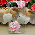 Bling Camellia Flower Crystals Hard Cases Covers for HTC T328W Desire V - Pink