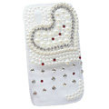 Bling Heart Crystals Hard Cases Pearl Covers for HTC T328W Desire V - White