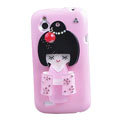 Bling Kimono doll Crystals Hard Cases Covers for HTC T328W Desire V - Pink