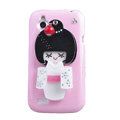 Bling Kimono doll Crystals Hard Cases Covers for HTC T328W Desire V - White
