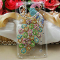 Bling Peacock Crystals Hard Cases Diamond Covers for HTC T328W Desire V - Green