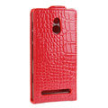 Crocodile pattern Leather Cases Holster Cover For Sony Ericsson LT22i Xperia P - Red