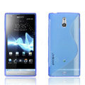Jokod TaiJi TPU Soft Cases Skin Covers For Sony Ericsson LT22i Xperia P - Transparent Blue (Screen protection film)