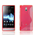 Jokod TaiJi TPU Soft Cases Skin Covers For Sony Ericsson LT22i Xperia P - Transparent Red (Screen protection film)