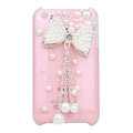 Bling Bowknot Crystal Hard Cases Pearl Covers for iPhone 3G/3GS - Pink